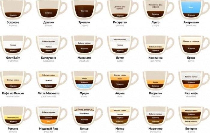 инфографика виды кофе