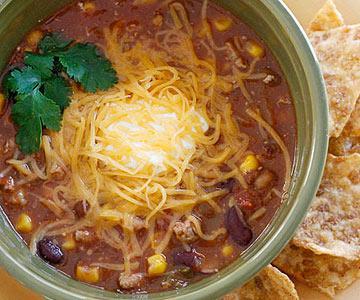 суп тако с чили и индейкой