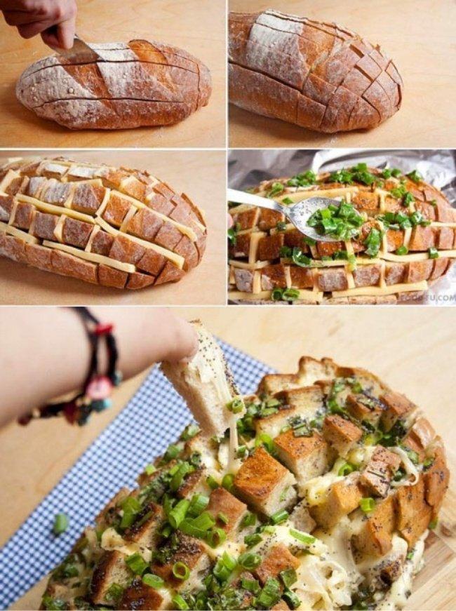 необычно нарезанный хлеб