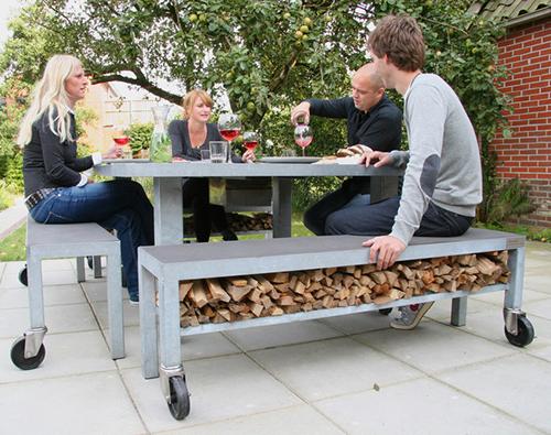 скамейка для хранения дров