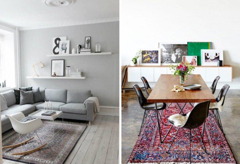стол, диван и ковры