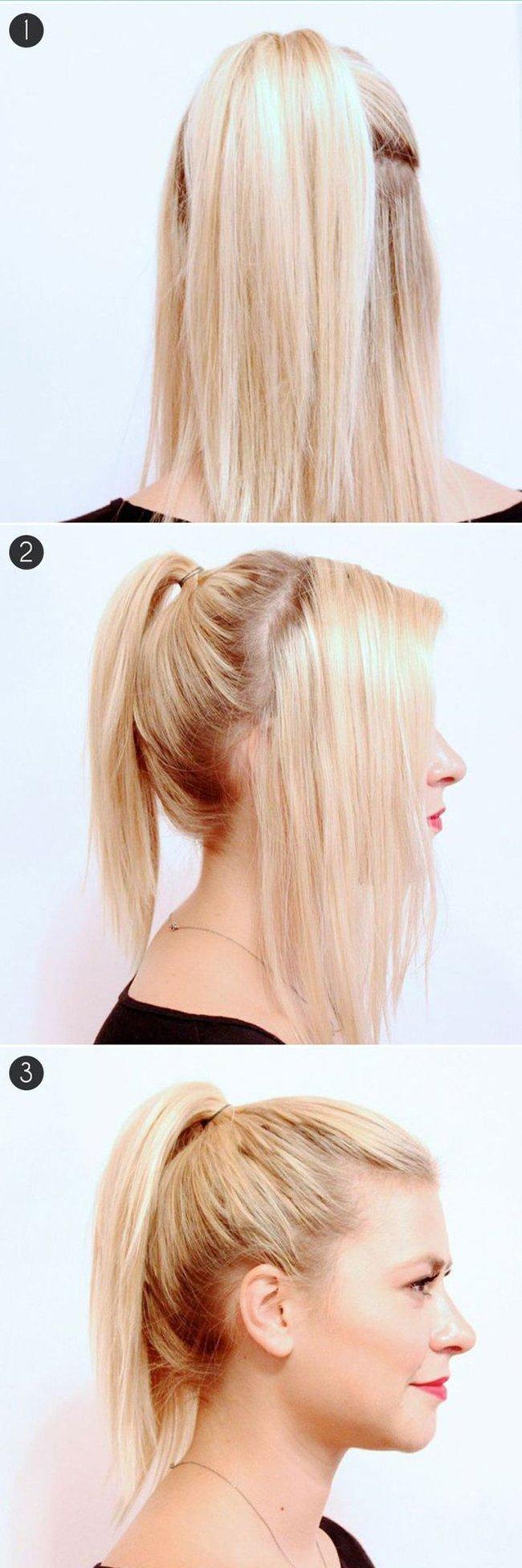 Красивая прическа на средние волосы из хвоста