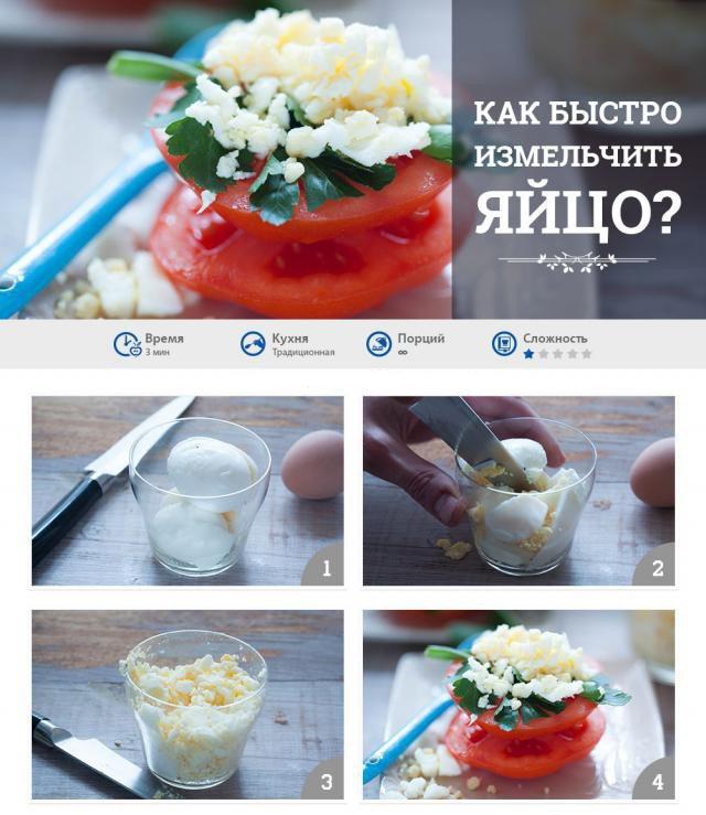 как измельчить яйцо