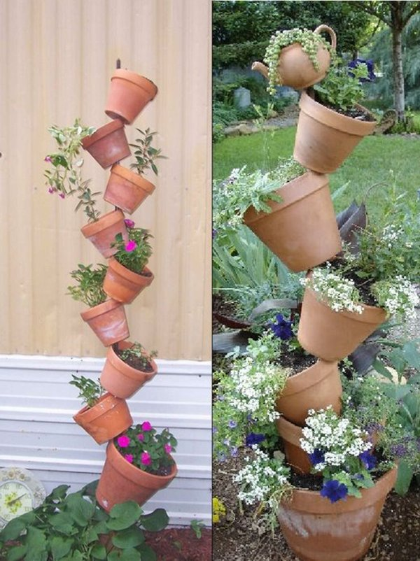 вертикальный сад из горшков