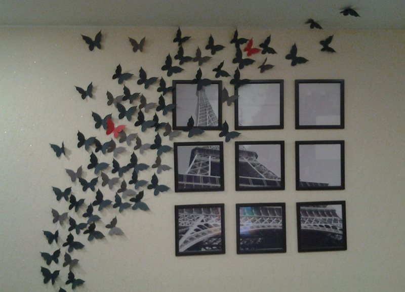 Бабочки в рамке на стену своими руками 55