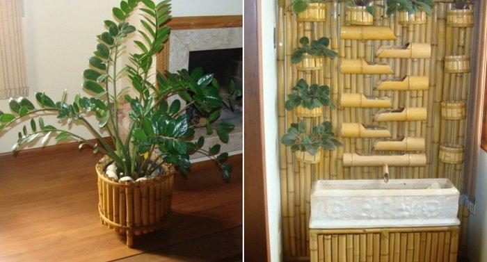 бамбук и камень в интерьере