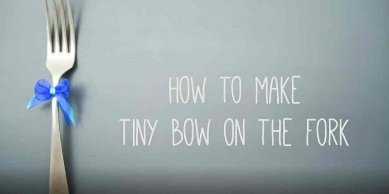 как делать бантик с помощью вилки