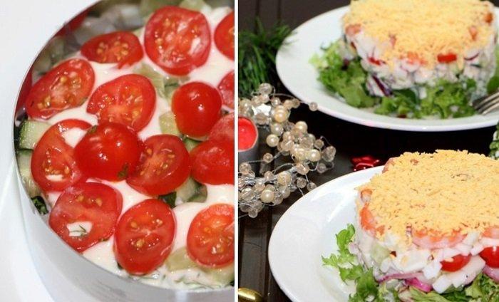салат з кальмарами і овочами