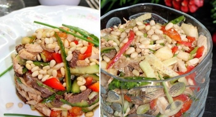 салат з м'ясом