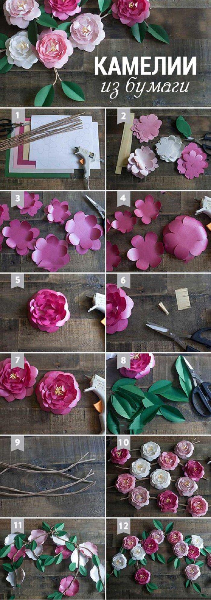 бумажные цветы пошагово