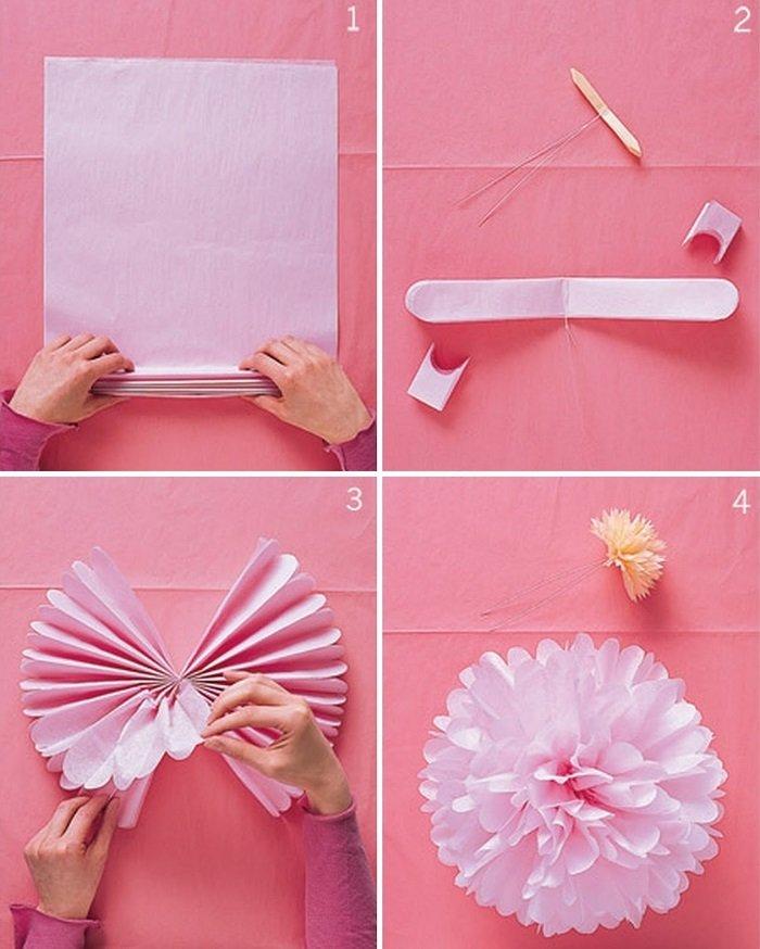 бумажные цветы помпоны своими руками