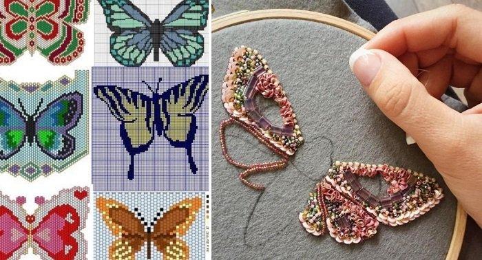 брошь-бабочка из бисера