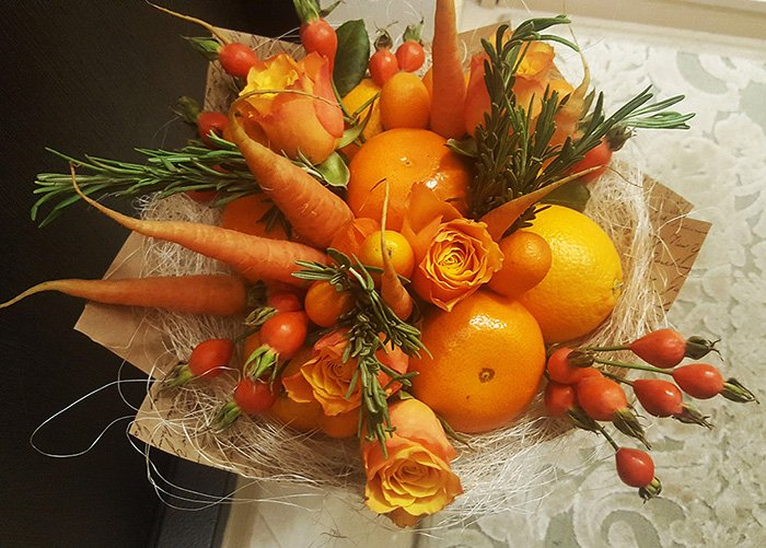 Букет из фруктов без проколов своими руками 9