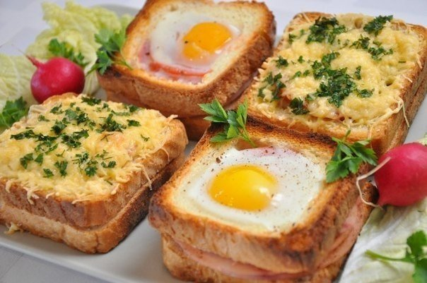Горячие бутерброды на завтрак на скорую руку