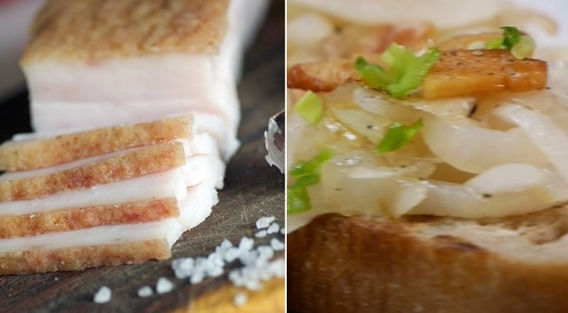 Бутерброды с салом и луком от цыганки Галины