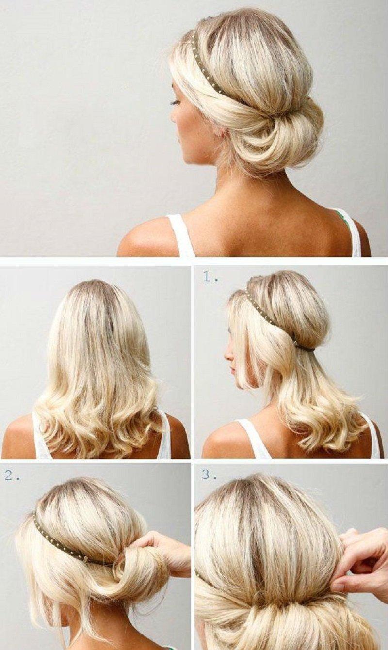 Простые прически на каждый день своими руками для средних волос с челкой