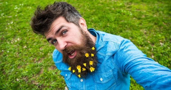 Hipster on cheerful face sits on grass, defocused. Man with beard enjoys spring, green meadow background. Natural beauty concept. Guy with lesser celandine flowers in beard taking selfie photo.