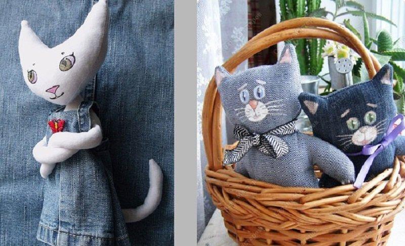 Сшить кота из джинсовой ткани 63