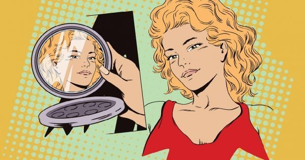 Stock illustration. People in retro style. Presentation template. Girl looks in a mirror. Portrait of a beautiful woman.