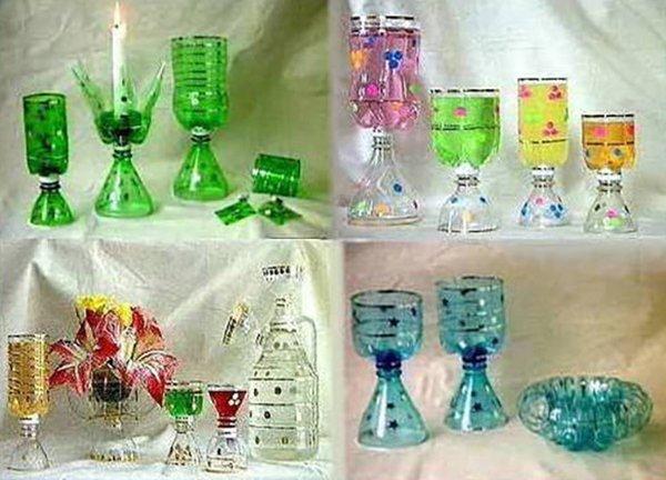 стаканы и бокалы из пластиковой бутылки