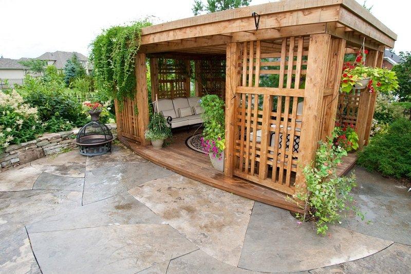 Интересные идеи беседок для дачи и сада своими руками фото 95