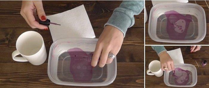 декор кружки лаком для ногтей