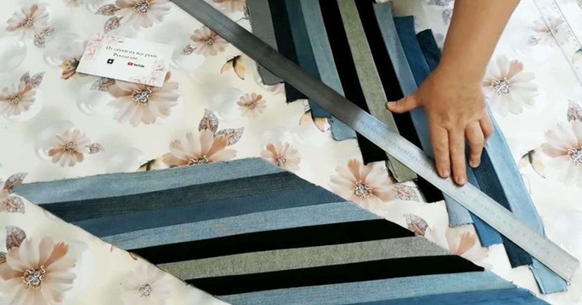 Как пошить декоративные подушки на диван из старых джинсов