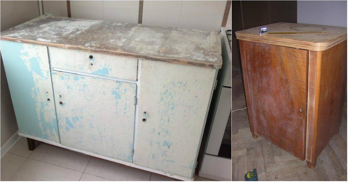 Кухонная мебель своими руками из старой мебели фото