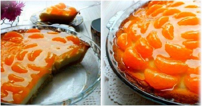 Тарт с мандаринами в желе