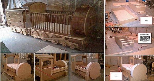 Оригинальная детская кроватка-паровоз! Сделай своими руками радость для малыша.