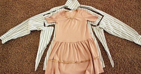 Милое платье для девочки из папиной рубашки. Отличный мастер-класс!
