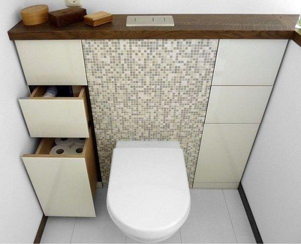 дизайн маленького туалета с раковиной