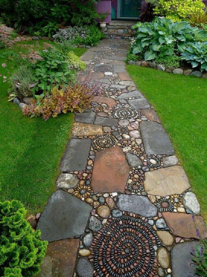Как сделать дорожки камнями на даче