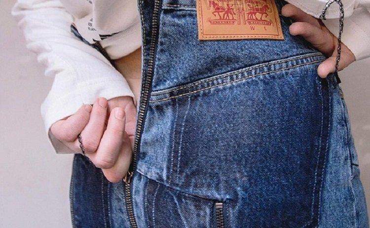 джинсы с молнией на попе