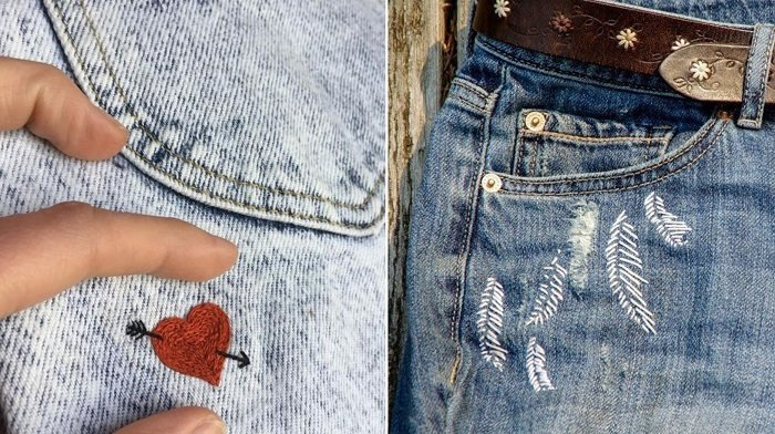 вышивка сашико на джинсах