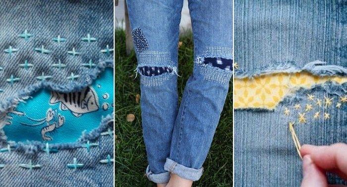 вышивка на джинсах вручную