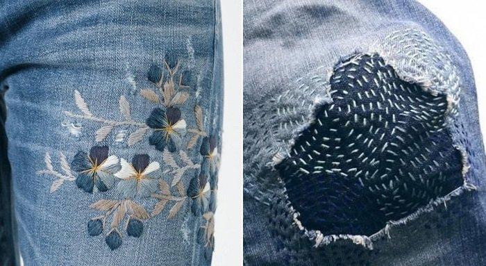 вышивка на джинсах сзади