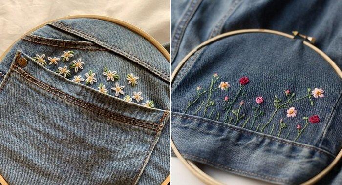 вышивка на джинсах бисером
