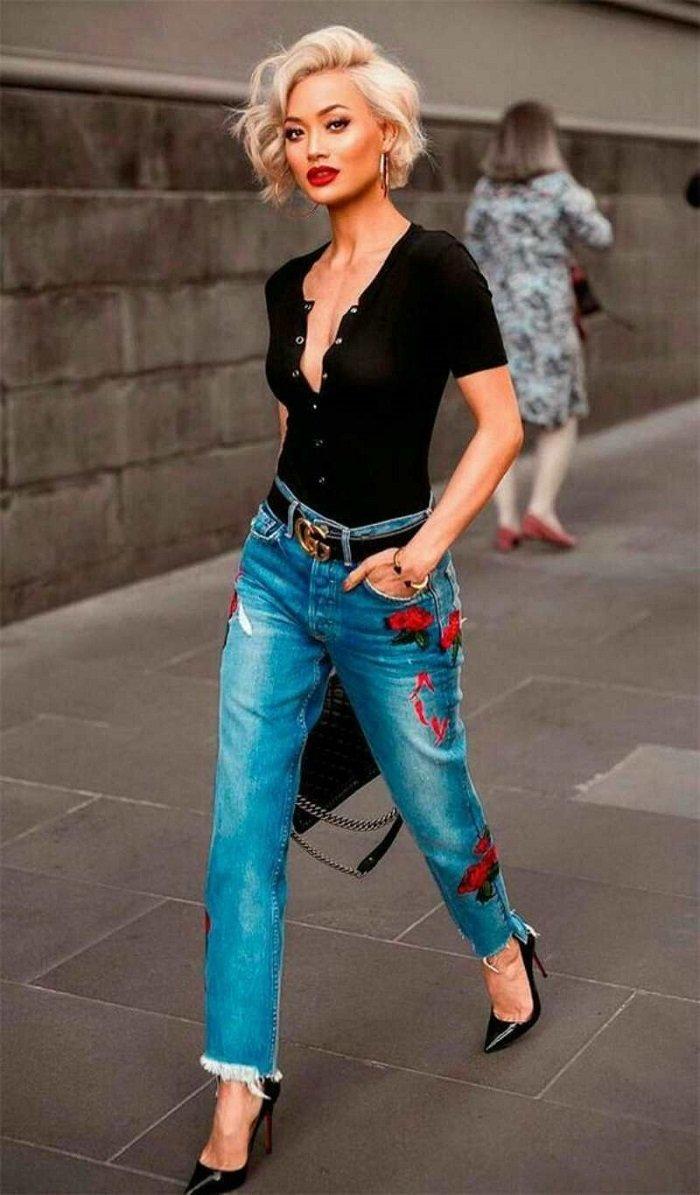 вышивка на джинсах крестом