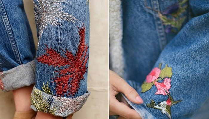 вышивка гладью на джинсах схемы