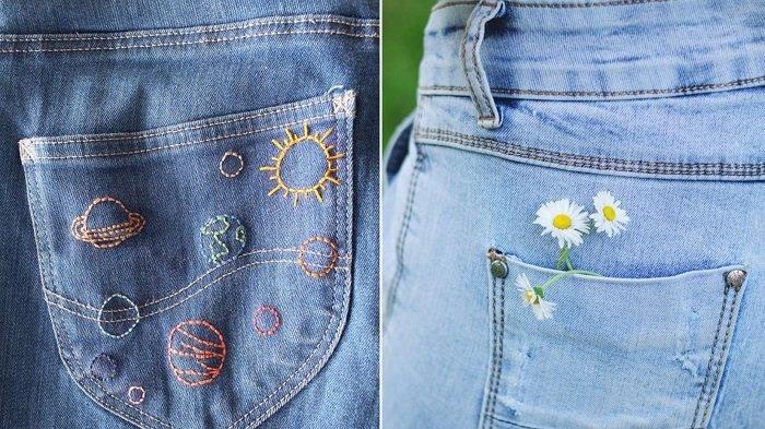 вышивка бисером на джинсах своими руками