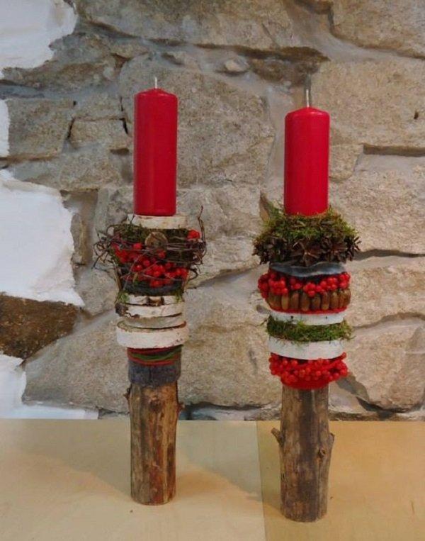 композиции со свечами и ветками