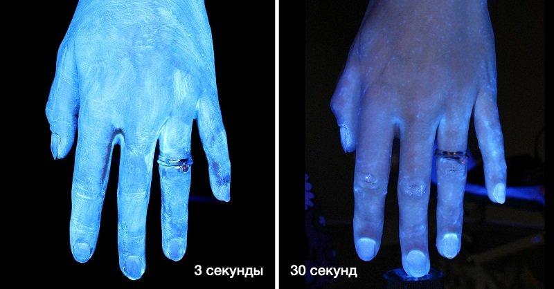 грязные руки под микроскопом