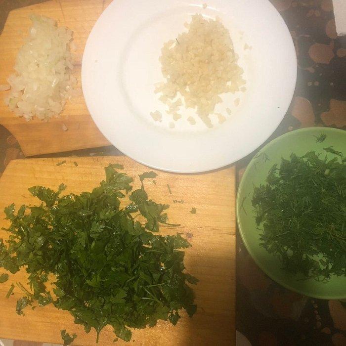 закуска из баклажанов и зелени
