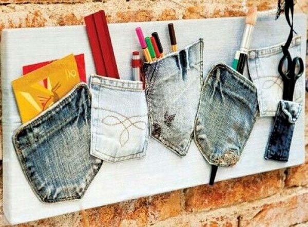 органайзер для вещей из джинсовых кармашков