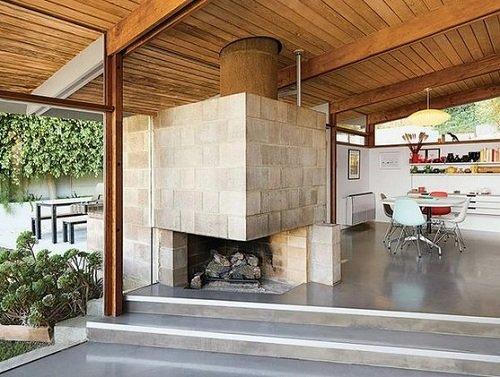 камин из бетона
