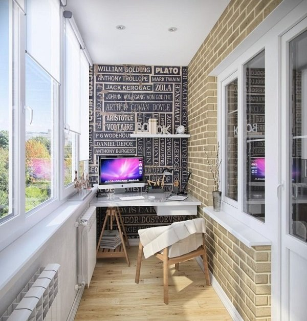 современный интерьер балкона
