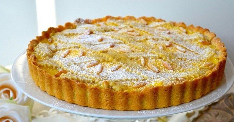 песочный пирог с заварным лимонным кремом
