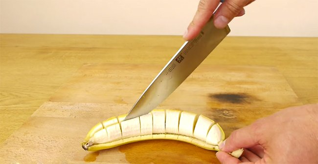 как нарезать банан