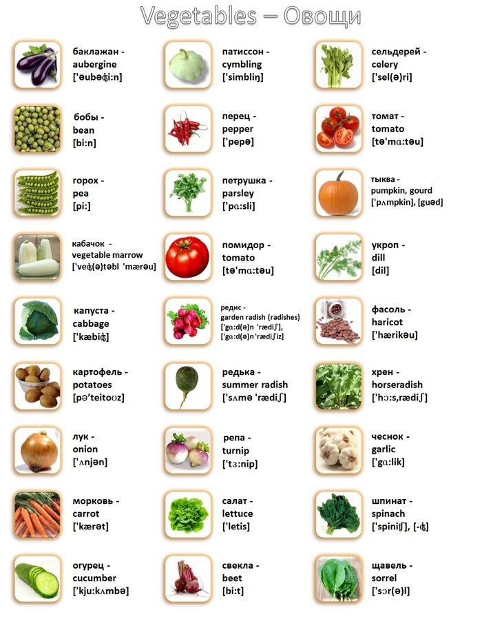 английский в картинках фрукты овощи